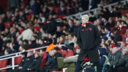 Arsenal manager Arsène Wenger on the touchlines in the UEFA Europa League game between Arsenal v CSK