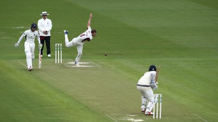 Northamptonshire's Doug Bracewell bowling to Middlesex's Sam Robson during the Specsavers County Cha