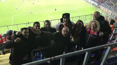 Loyal Arsenal fan Dee Conway with fellow Gooners at the game in Moscow