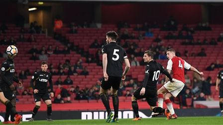 Charlie Gilmour scores for Arsenal U23s against Swansea City U23s at the Emirates in Premier League