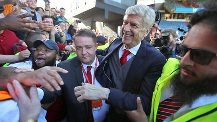 Outgoing Arsenal manager Arsene Wenger says goodbye to the fans after the Premier League match at th