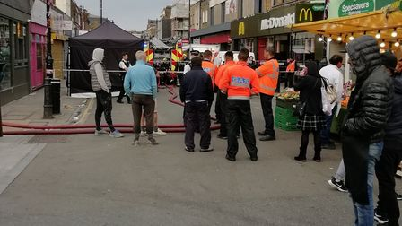 The police cordon in Chapel Market this morning after a gas leak. Picture: David Twydell