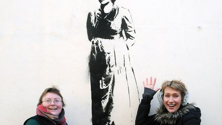 Campaigners with Mary Wollstonecraft graffiti in Newington Green. Picture: Dieter Perry