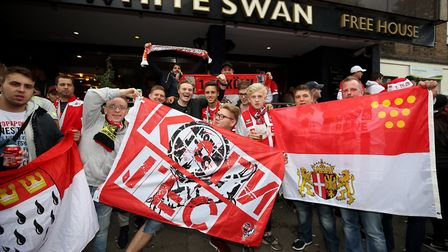 FC Koln fans outside The White Swan pub prior to the Europa League match at the Emirates Stadium, Lo
