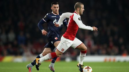 Arsenal's Jack Wilshere on the ball during the UEFA Europa League match at the Emirates Stadium, Lon