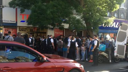 A large police presence was seen outside Tesco in Stroud Green Road on Saturday. Picture: @MissDrift