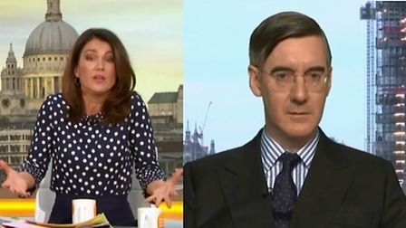 Susanna Reid questions Jacob Rees-Mogg on Brexit. Photograph: Good Morning Britain/ITV.