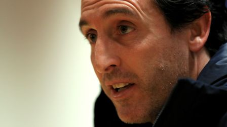 Paris Saint-Germain manager Unai Emery during a press conference ahead of the UEFA Champions League