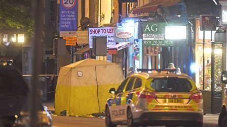 The scene in Upper Street after the fatal stabbing last night. Picture: Victoria Jones/PA Wire
