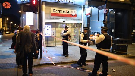 The police cordon in Upper Street after the fatal stabbing last night. Picture: Victoria Jones/PA Wi