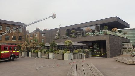 A fire engine at the scene of the blaze at the Lighterman in Granary Square. Picture: London Fire Br