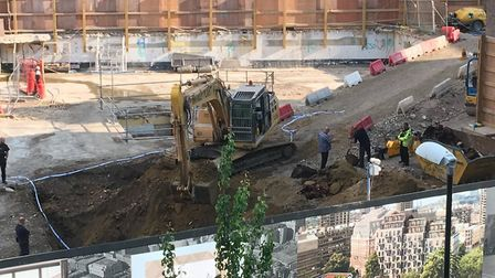 The unexploded bomb was found while workers were digging up what was Bernard Morgan House. Picture: