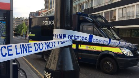 A huge police cordon has been set up. Picture: Jacqueline Swanson