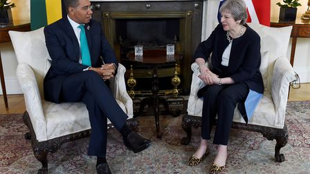 Theresa May meets Jamaican prime minister Andrew Holness last week - a meeting Mr Holness described