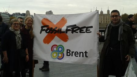 Climate campaigner Simon Erskine (right) outside City Hall in November with Green Party London Assem