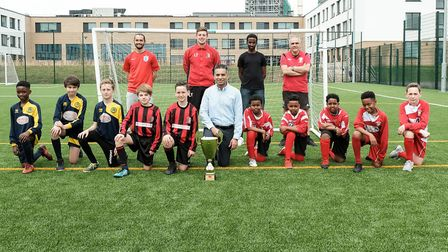 Cllr Zaffar Van Kalwala with fooball youth teams ahead of the Brent Super Cup 2018