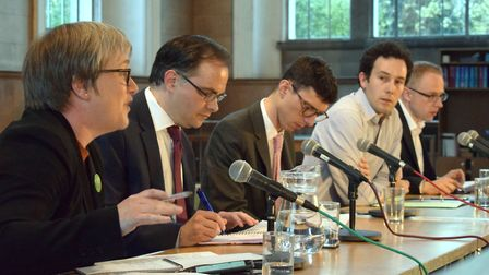 The panel debates at the Gazette's local elections hustings at St Mary's Church. From left, Cllr Car