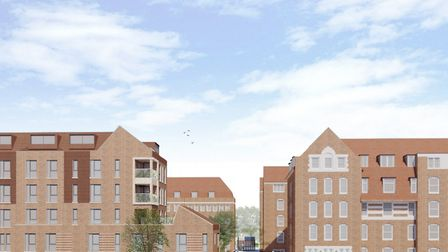 An artist's impression of the new Wedmore Estate block on the left, with the existing Weatherbury Ho