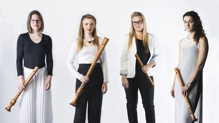 Lydia Gosnell (second from left) with recorder quartet Palisander