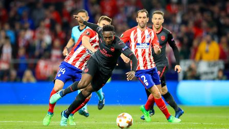 Arsenal's Danny Welbeck (centre) in action during the UEFA Europa League semi final second leg at Wa