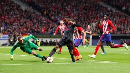 Arsenal's Alexandre Lacazette has an attempt at goal against Atletico Madrid (pic Adam Davy/PA)