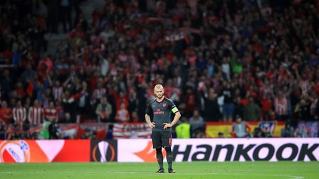 Arsenal's Jack Wilshere shows his dejecton after his side concede in Madrid (pic Adam Davy/PA)