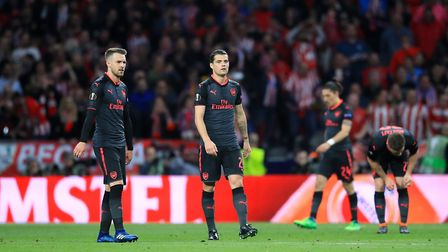 Arsenal's Aaron Ramsey and Granit Xhaka shows their dejecton (pic Adam Davy/PA)