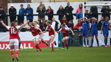 Arsenal Women's Louise Quinn (second left) celebrates scoring her side's second goal of the game dur