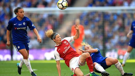 Arsenal Women's Dominique Janssen (centre) in action during the SSE Women's FA Cup Final at Wembley