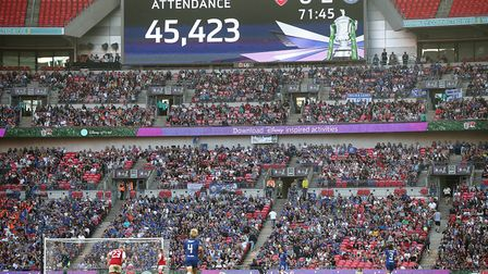 A general view of the scoreboard during the SSE Women's FA Cup Final at Wembley Stadium, London (pic