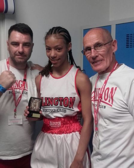 Roxanne Campbell with Islington BC coaches (pic: Islington BC)