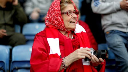 An Arsenal fan in the stands before the Premier League match at the King Power Stadium, Leicester.