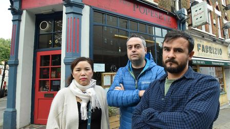 Jenny Song of Sushi Wa, Fabrizio Tolomeo of Fabrizio and James Hutchinson of Popeseye outside the re