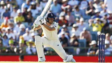 England's Dawid Malan plays a shot during day one of the third Ashes Test in Perth (pic Jason O'Brie