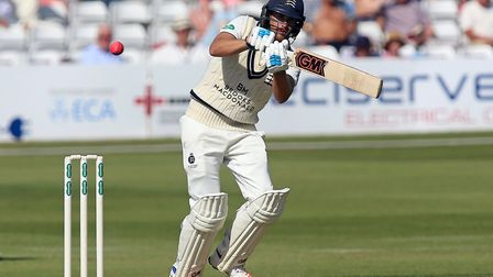 Dawid Malan in batting action for Middlesex against Essex, facing a pink ball, in June 2017 (pic Gav