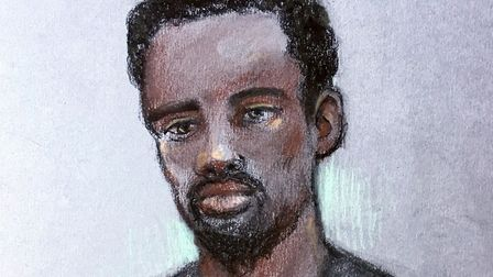 A court artist sketch of Kasim Lewis, from his January court appearance. Picture Elizabeth Cook/PA W