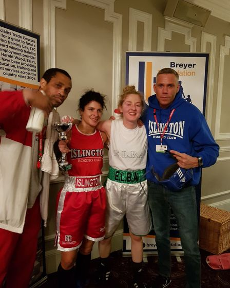 Islington's Sunni Torgman with coaches Jerry Mitchell and Chad Ouzman and rival Aileen Cooney (pic R