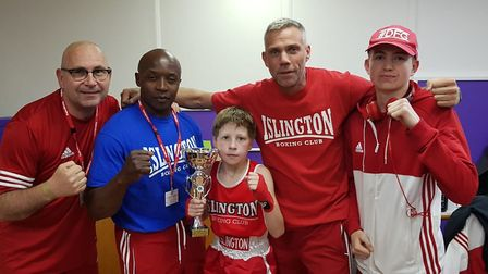 Islington youngster Isaac Gibson with coaches Kevin Daly, Scott Marshall, Chad Ouzman and fellow fig