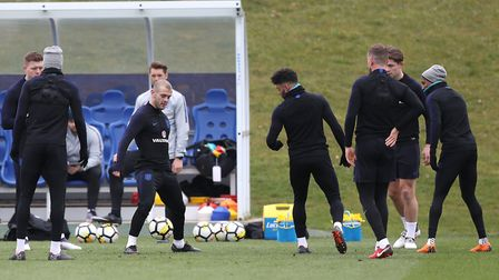 Arsenal's Jack Wilshere (centre left) during an England training session at St Georges' Park earlier