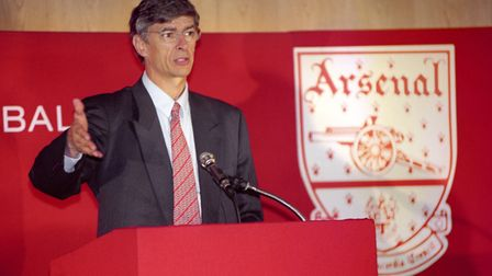 Arsene Wenger speaks at his first Arsenal press conference at Highbury. Picture: PA