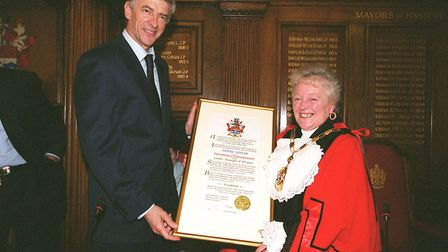 Arsene Wenger is granted freedom of Islington at the town hall in 2004. Picture: Arsenal Football Cl