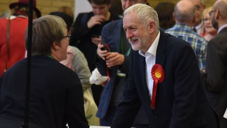 Jeremy Corbyn speaks to sole opposition councillor Caroline Russell at last week's election count. P