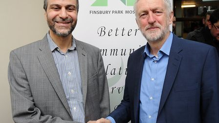 Finsbury Park Mosque chairman Mohammed Kozbar with Jeremy Corbyn at the mosque's 2017 open day. Pict