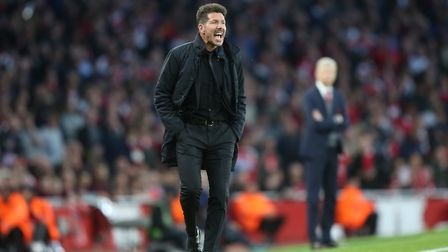 Manager of Atlético Madrid Diego Simeone on the touchline in the UEFA Europa League game between Ars