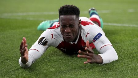 Arsenal's Danny Welbeck reacts after a missed chance during the UEFA Europa League semi final, first