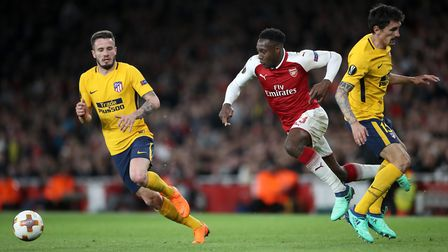 Arsenal's Danny Welbeck (centre) in action during the UEFA Europa League semi final, first leg match