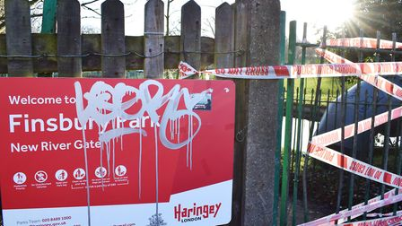 Finsbury Park was cordoned off while police investigated over Christmas. Picture: Polly Hancock