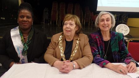 Cllr Lesley Jones MBE with Brent Young Carers CEO Anne-Marie Morris and chair Irene Lewis in 2016. P