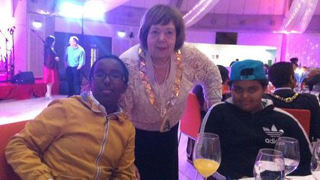 Cllr Lesley Jones MBE with young carers at the mayor's ball 2015. Picture: Brent Young Carers