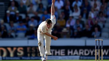 Middlesex bowler Toby Roland-Jones in action for England (pic: Anthony Devlin/PA)